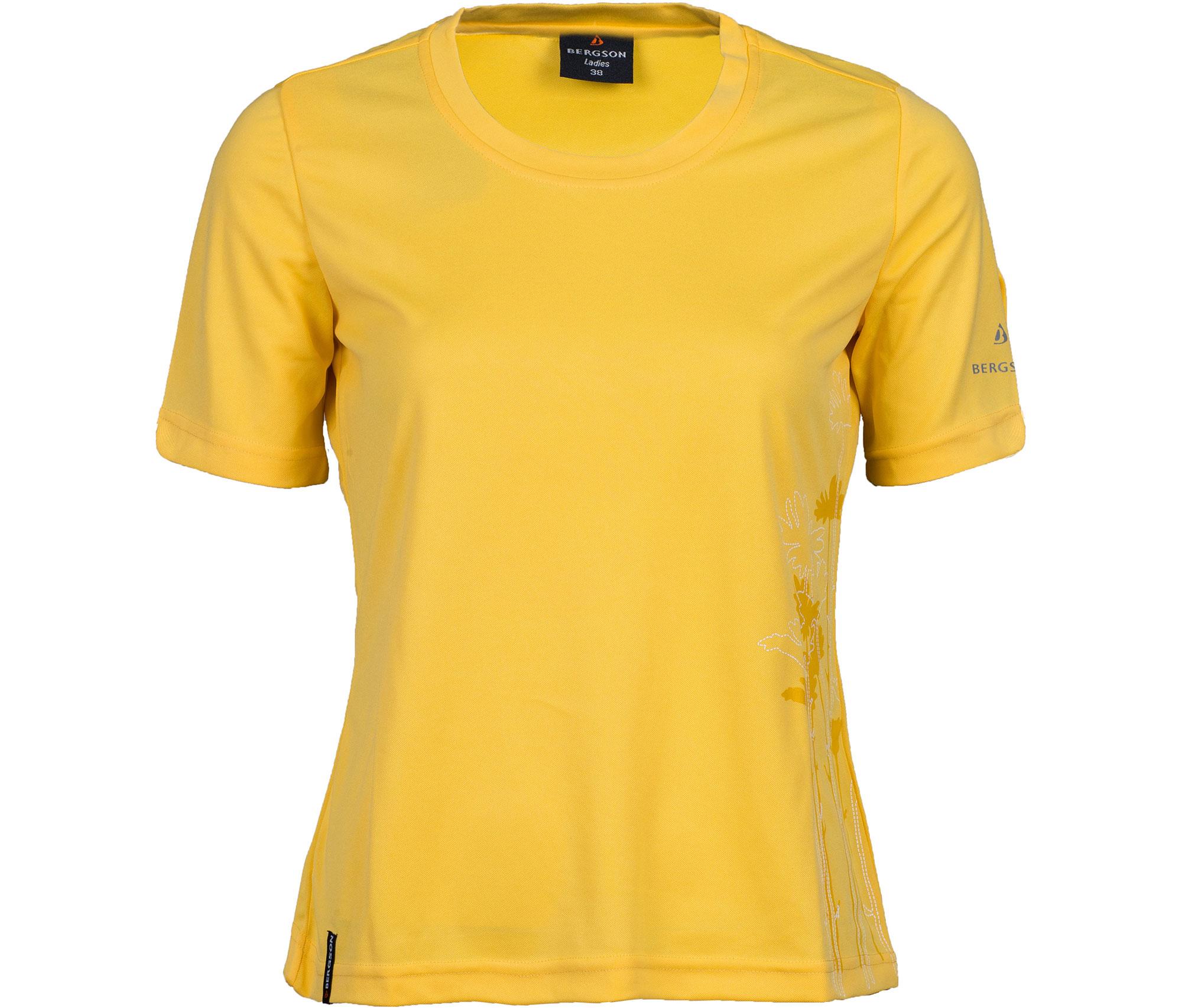Pique-Material femininer Schnitt Rundhalsausschnitt pflegeleicht schnelltrocknend Bergson Damen Funktionsshirt EDA Frontdruck