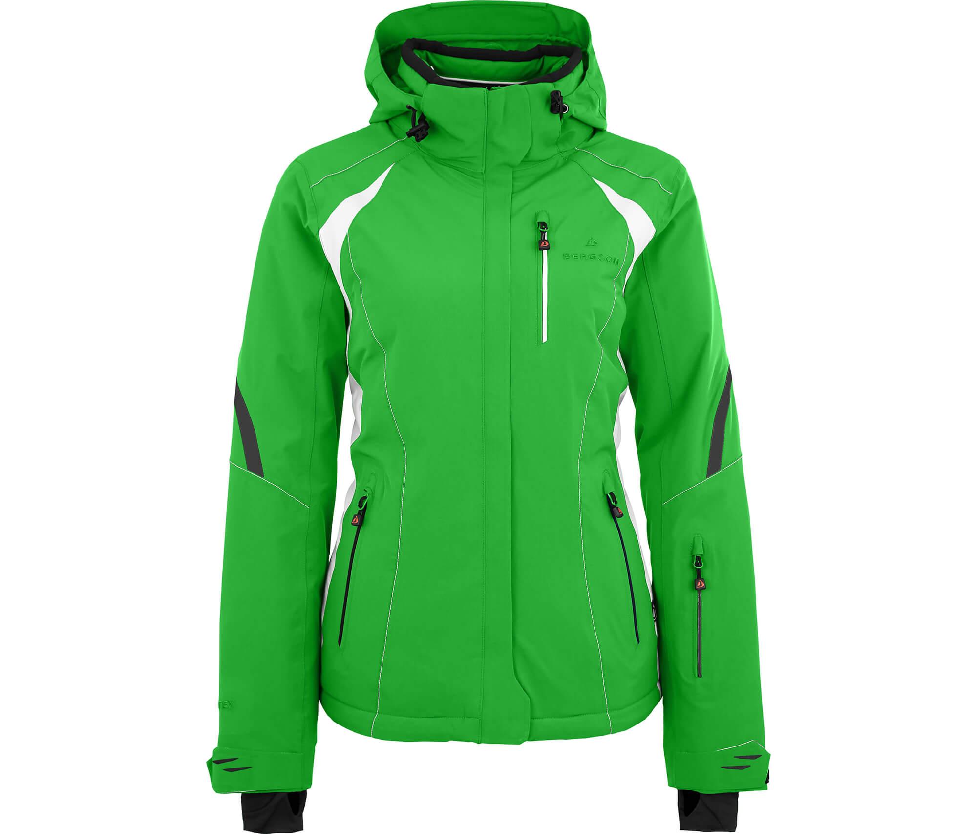 damen skijacke grüne jacke schwarze ärmel